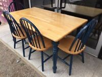 Beech kitchen table and 4 chairs