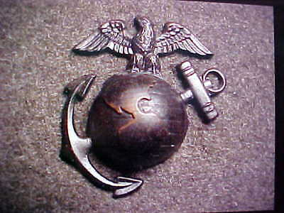 RARE OLD BRONZE WW2 USMC OFFICER OVERSEAS CAP OR COLLAR EGA MARKED H-H IMPERIAL