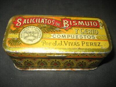 Antique Metal Box Of Farmacia. Silicatos Of Bismuth And Cerio. J. Live Perez