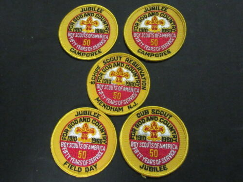 1960 BSA 50th Anniversary Patch Lot, Including Schiff Scout Reservation    c42