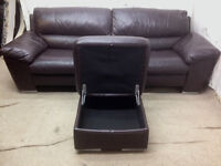 excellent condition brown leather large 3 seater sofa and footstool