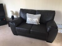 Dark Brown Leather Sofas - 2 and 3 Seaters