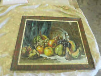 vintage picture print (fruits in summer) & tiger oak frame