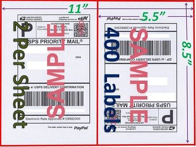 400 Self Adhesive Shipping Blank Labels 8.5x5.5 Paypal