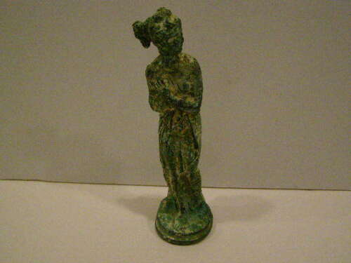 ANTIQUE BRONZE MYSTERIOUS SEMI-NUDE FEMALE STATUE ROMAN OR GREEK?