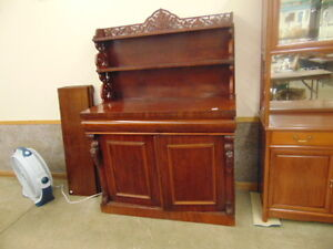 ANTIQUE MAHOGANY SERVER WITH SCROLL WORK