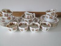 RARE CIRCA 1904 ANTIQUE BONE CHINA 27 PIECE TEA SERVICE-THOMAS WILD ROYAL ALBERT EDNA PATTERN-OSSETT