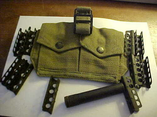 10 each British Lee Enfield SMLE 303 stripper clips with pouch & oiler