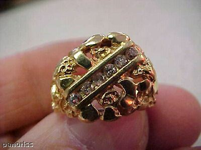 14k Gold Nugget & Diamond Ring Size 6-1/2   Make Offer
