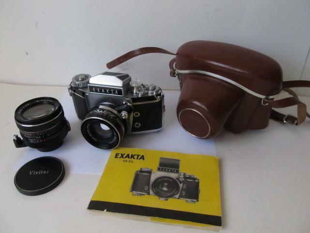 Exakta VX IIb 35mm SLR Film Camera w/Zeiss Jena Pancolar 50mm f/2 & ****