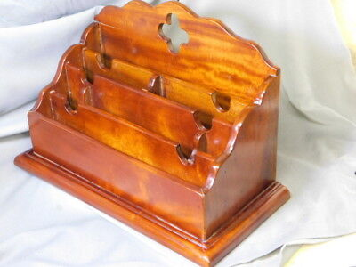 Large Mahogany Wood Desk Organizer W 7 Compartments Beautiful Vtg