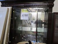 +++DISCOUNTED+++***ITALIAN CROCKERY DISPLAY WITH LIGHTS***PURE SOLID POLISHED WOOD***