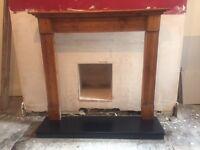 Wooden fire surround & slate hearth