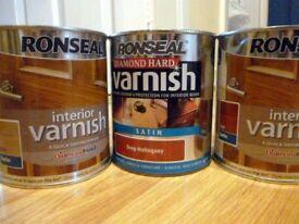 Ronseal Varnish 3 X 750ml Brand new unused BARGAIN £20