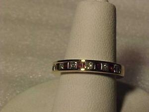 #3525-Beautiful Princess Diamonds(.40ct VS) and Naatural Garnets (.42ct) ring Size 4 -Free s/h in Canada Only interac