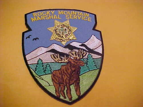 WYOMING ROCKY MOUNTAIN MARSHAL SERVICE POLICE PATCH SHOULDER SIZE UNUSED