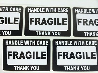 100 2x3 Fragile Black Self Adhesive Handle With Care Stickers Shipping Labels