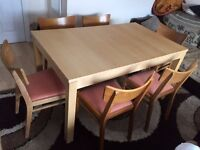 IKEA Bjursta Dining Table with 6 G-Plan Chairs