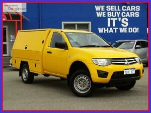 2013 Mitsubishi Triton MN MY14 GLX 4x2 Yellow 4 Speed Sports Automatic Cab Chassis Welshpool Canning Area Preview