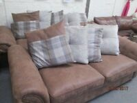 *+*STATE OF THE ART*DFS*** CHESTERFIELD DESIGN *** 3+2 BROWN SUEDE REAL LEATHER SOFA SET *10 CUSHNS