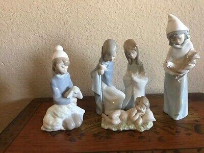 LLADRO Nativity Set Five Piece Mary, Joseph, Baby Jesus and Boy and Girl Shepard