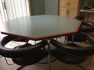 SOLID OCTAGON TABLE WITH 6 CHAIRS - REDUCED PRICE FURTHER