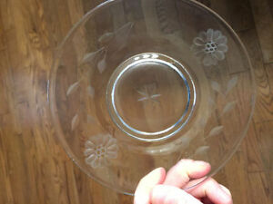 Vintage Glass Etched table ware, dishes & serving platter