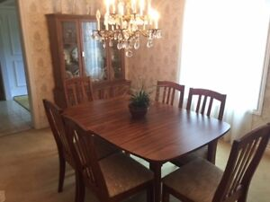 Dining Set - table, 6 chairs, china cabinet