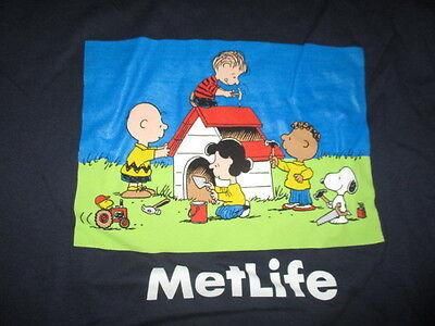 Peanuts Snoopy Metlife  Lg  T Shirt Volunteer Woodstock Linus Lucy Charlie Brown