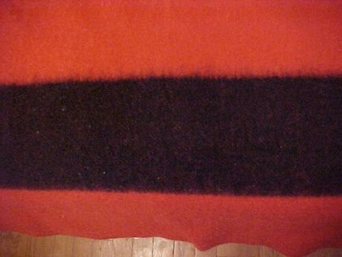 GOLDEN DAWN WOOL BLANKET RED WITH BLACK STRIPES JC PENNEY  Circa 1950s