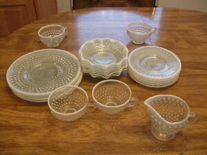 CLEAR BUBBLE GLASS DISHES- WHITE TRIM