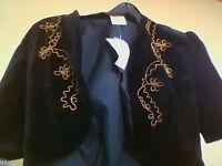 BRAND NEW WITH TAGS Charlotte Halton black velvet short sleeved bolero jacket, size 12