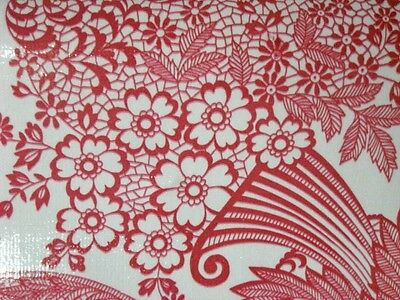 RED PARADISE LACE RETRO KITCHEN DINE PATIO OILCLOTH VINYL TABLECLOTH 48x108 NEW
