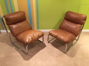 Vintage leather and Chrome lounge chairs