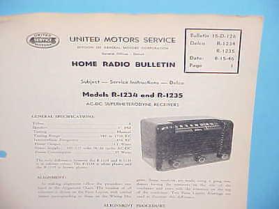 1946 UNITED MOTORS DELCO HOME RADIO SERVICE REPAIR MANUAL MODELS R-1234 1235