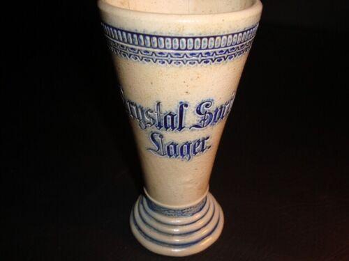 Circa 1900 Crystal Spring Lager Fluted Salt Glazed Ceramic Glass, New York