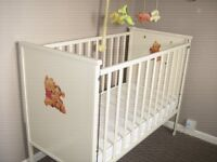 Babys cot old but good condition. New sprung mattress,cot mobile and bouncy chair