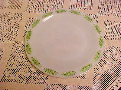 """Anchor Hocking Springwood Placesetters Collection Plate 9"""" Green Floral Border"""