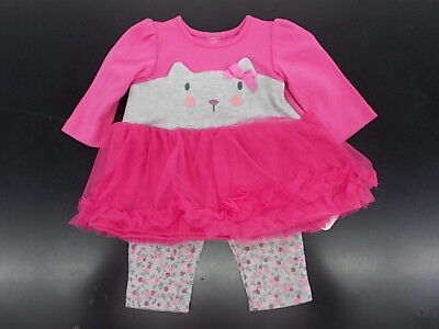 Infant Girls Best Beginnings $20 2pc Pink w/ Kitty Set Size 3 Months - 12