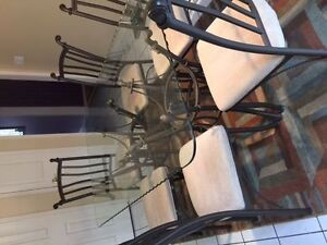 Wrought Iron W/Glass Dinning Table Plus 6 Chairs