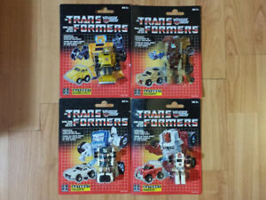 TRANSFORMERS G1 BUMBLEBEE, OUTBACK, SWERVE, & TAILGATE MOSC