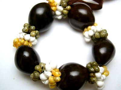 Hawaii Wedding / Graduation Kukui Nut Luau Hula Jewelry Bracelet ~#24027 (QTY 2)