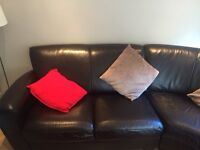 Brown Leather Corner Sofa with Armchair