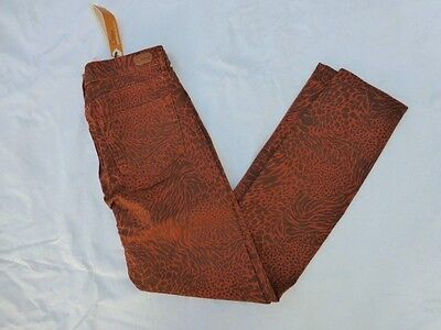 NWT WOMENS DITTOS DAWN MID RISE SKINNY JEANS $99 RUST W/MULTI ANIMAL PRINT ()