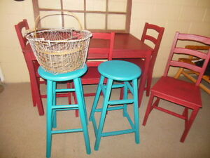 antique dresser, nightstands, stools, etc. painted,  teal London Ontario image 9