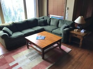 Living Room Set w/ Sectional Sofa and Tables