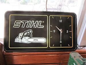 Vintage Stihl Chain Saw Light Up Clock/Sign