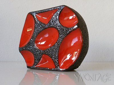 Roth Keramik Vase Blumenvase 16 cm Rot 310 Fat Lava German pottery 60er 70er