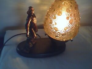 Antique Art Deco Captain's Lamp with Amber Bubble Shade
