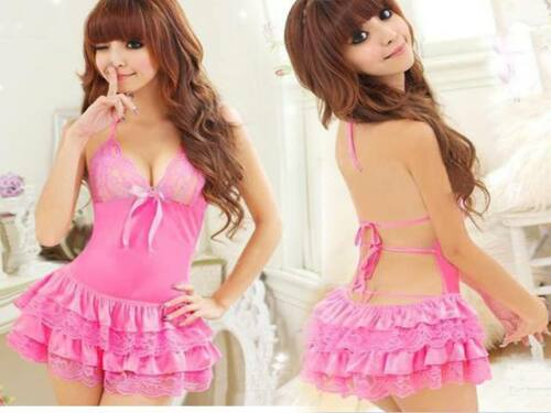Womens-Sexy-Babydoll-Backless-Underwear-Valentines-Nightwear-Lingeries-G-String